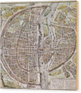Paris Map, 1581 Wood Print