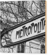 Paris Metro Sign Bw Wood Print