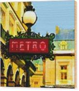 Paris Metro Stop Wood Print