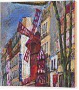 Paris Mulen Rouge Wood Print