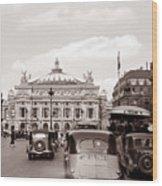 Paris Opera 1935 Sepia Wood Print