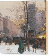 Paris, Porte Saint Denis In Winter Wood Print