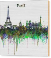 Paris Skyline Watercolor Wood Print