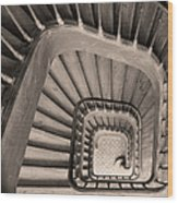 Paris Staircase - Sepia Wood Print