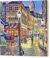 Paris Street Abstract 2 Wood Print