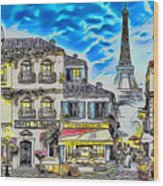 Paris Street Abstract 3 Wood Print