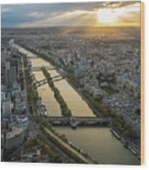 Paris Sunrays Dusk Along The Seine Wood Print
