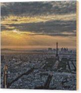 Paris Sunset Wood Print