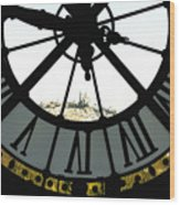 Paris Through The Clock Wood Print