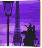 Paris Tour Eiffel Violet Wood Print