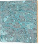 Paris Traffic Abstract Blue Map Wood Print