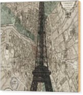 Paris Vintage Map And Eiffel Tower Wood Print