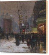 Paris Winter Scene Wood Print