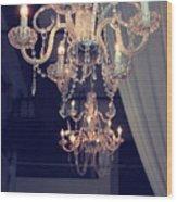 Parisian Crystal Chandelier - Chandelier In Window - Paris Gold Crystal Chandelier Decor Wood Print