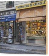 Parisian Shops Wood Print