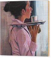 Parisian Waitress Wood Print