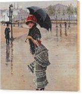 Parisienne On A Rainy Day Wood Print