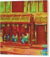 Park Avenue Montreal Cafe Scene Wood Print