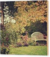 Park Bench, Fall Wood Print