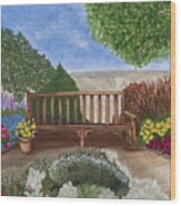 Park Bench In A Garden Wood Print
