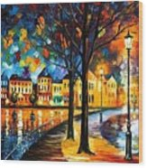 Park By The River Wood Print