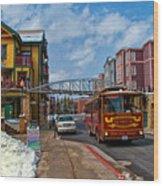Park City Trolley Car Wood Print