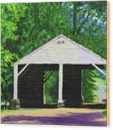 Park Covered Bridge Wood Print
