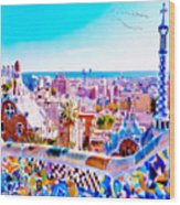Park Guell Watercolor Painting Wood Print