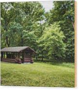Park Shelter In Lush Forest Landscape Wood Print
