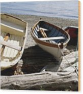 Parked Boats Wood Print
