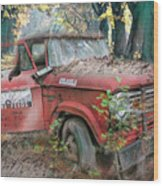 Parked On A Country Road Watercolors Painting Wood Print