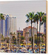 Parking And Palms In Long Beach Wood Print