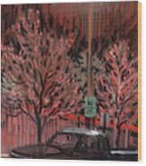 Parking Lights Wood Print