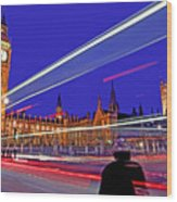 Parliament Square With Silhouette Wood Print by Chris Smith