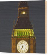 Parliament Tower At Night Wood Print