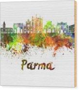 Parma Skyline In Watercolor Wood Print