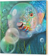 Parrot Fish - Through A Bubble Wood Print