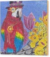 Parrot In Gear Tree Wood Print