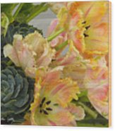 Parrot Tulips And Desert Succulents Wood Print