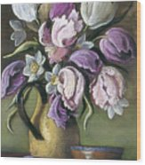Parrot Tulips In Yellow Pitcher Wood Print