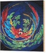 Parrots Go Round Wood Print