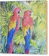 Parrots In Jungle Wood Print