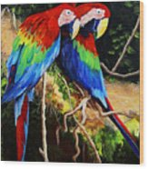 Parrots In The Jungle Wood Print