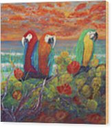 Parrots On Sunset Beach Wood Print