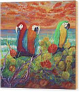 Parrots On The Beach Painterly Wood Print