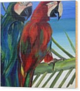 Parrots On The Beach Wood Print