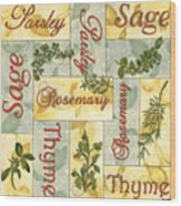 Parsley Collage Wood Print by Debbie DeWitt