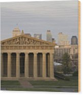 Parthenon With Nashville Skyline  Wood Print