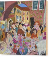 Party In The Courtyard Wood Print