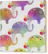 Party Parade - Elephant Children Pattern Wood Print